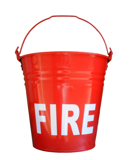 Fire Bucket Metal Flat Bottom Red Powder Coated